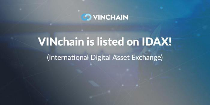vinchain is listed on idax (international digital asset exchange)