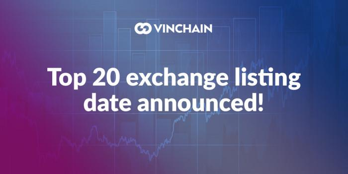 top 20 exchange listing date announced!