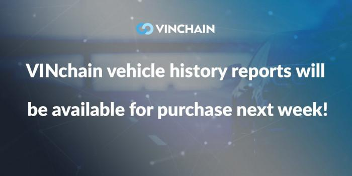 vinchain vehicle history reports will be available for purchase next week!